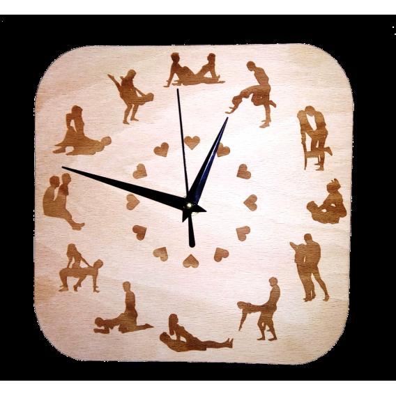 """Drevené gravírované hodiny """"Kamasutra"""""""