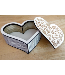 Drevená krabička - srdce otvorené